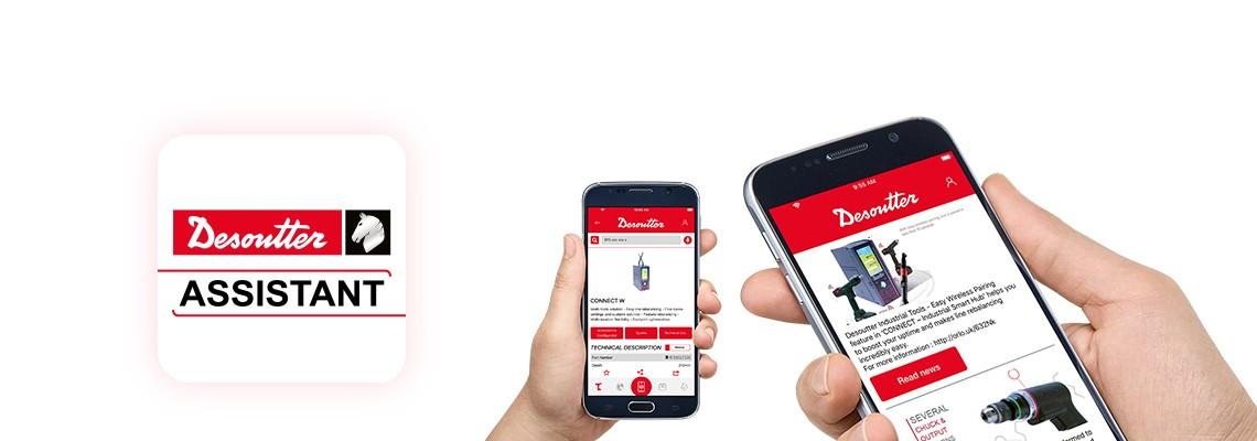 Download l'app di assistenza Desoutter per rimanere aggiornato sui nostri prodotti di assemblaggio e perforazione e avere un accesso a tutti i nostri servizi.