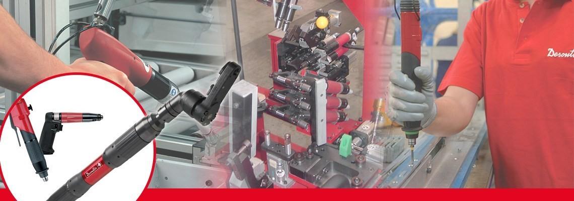 Desoutter Indutrial Tools ha creato un'intera gamma di utensili pneumatici per il serraggio che include i cacciaviti senza spegnimento con imougnatura a pistola disegnati per la precisione e la qualità
